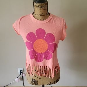 Wildfox Flower Graphic Print Fringe Pink Floral Short Sleeve Crop Top Small